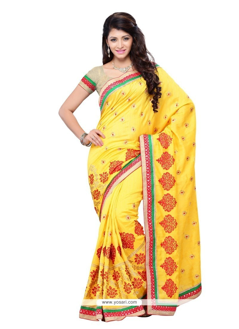 18e0daa580 Shop online Buy Transcendent Yellow Designer Saree Online : Canada