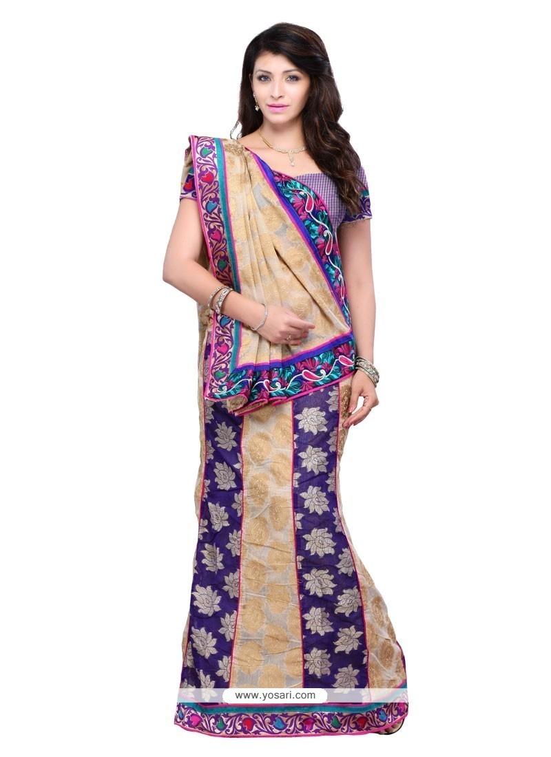 bd4a06343d Shop online Buy Subtle Jacquard Aari Work Lehenga Saree Online : USA