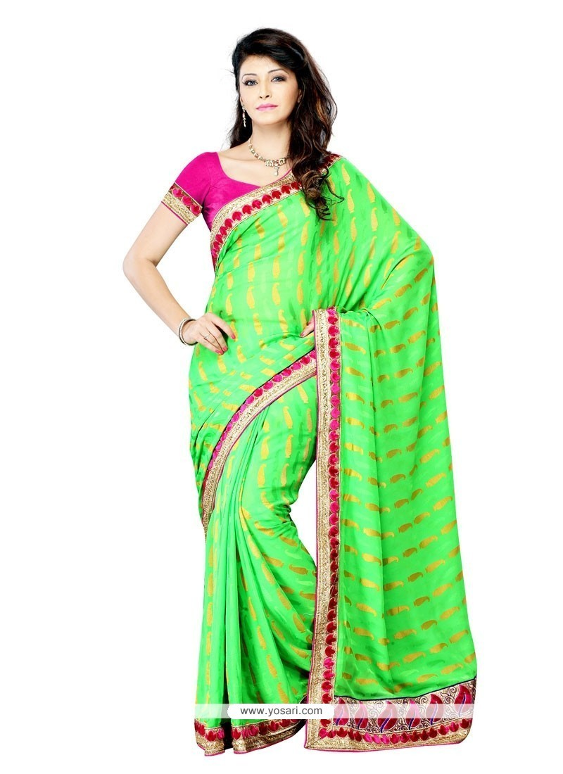 77ae0267e5 Shop online Buy Staggering Green Patch Border Work Crepe Jacquard ...