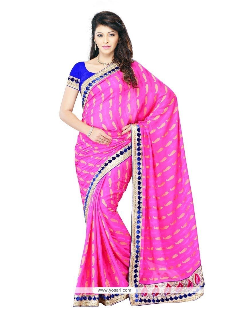 665124600e Shop online Buy Ruritanian Crepe Jacquard Hot Pink Embroidered Work ...