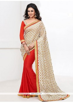Orange And Off White Half And Half Saree
