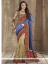 Blue Georgette Half And Half Saree