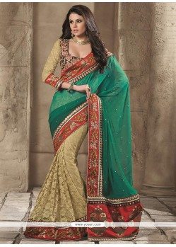 Green Goergette Half And Half Saree