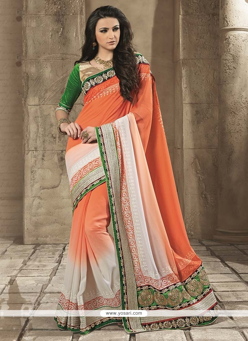 Conspicuous Orange Georgette Saree