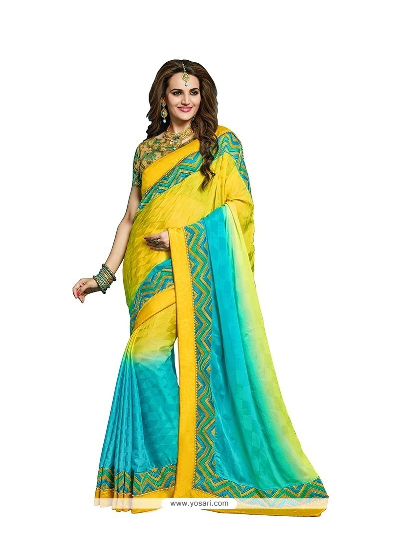 Angelic Faux Crepe Embroidered Work Classic Designer Saree