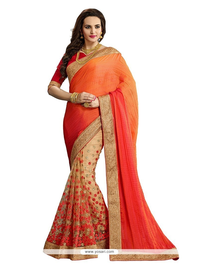 Topnotch Orange Patch Border Work Net Classic Designer Saree