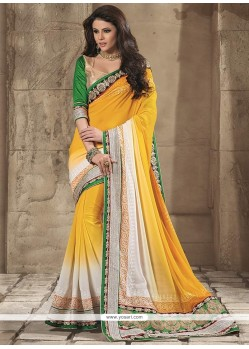 Charismatic Yellow Georgette Saree