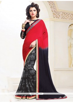 Exuberant Black And Red Designer Saree