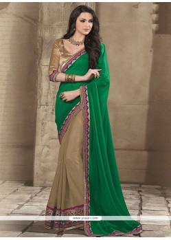 Fab Green Chiffon Half And Half Saree