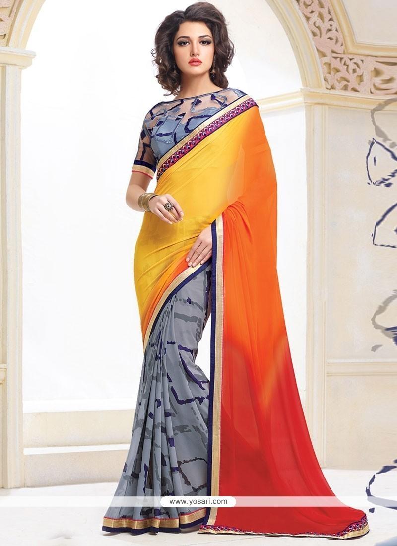 Extraordinary Blue, Orange And Yellow Designer Saree