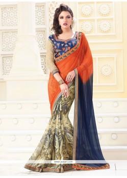 Patch Border Georgette Designer Saree In Beige, Blue And Orange