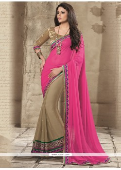Pink Chiffon Half And Half Saree