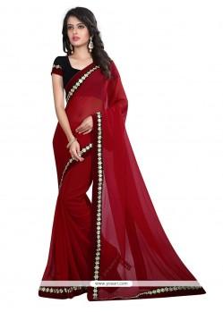 Patch Border Georgette Designer Saree In Maroon