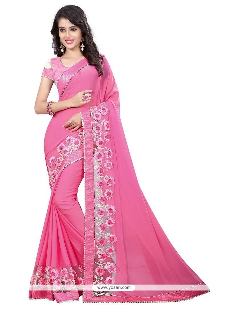 Fine Patch Border Work Pink Designer Saree