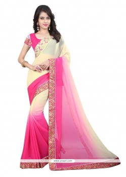 Exquisite Hot Pink Embroidered Work Designer Saree
