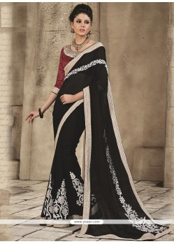 Captivating Black Georgette Saree