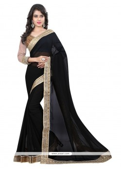 Embroidered Georgette Designer Saree In Black