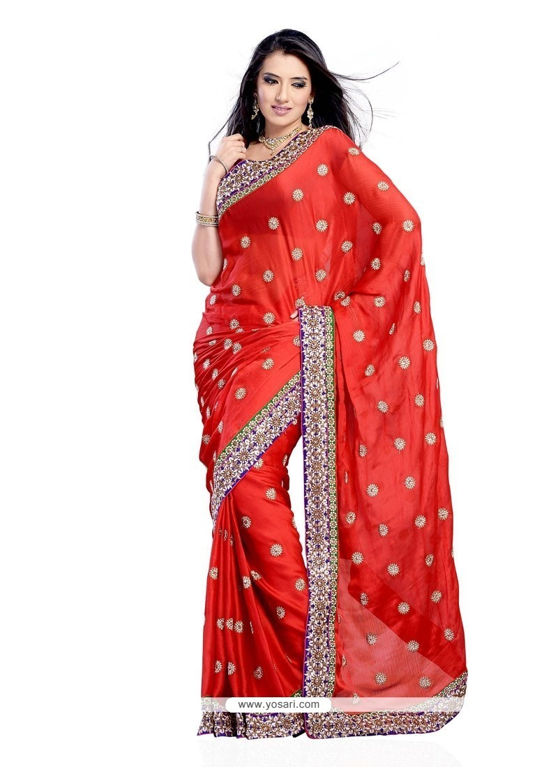 Riveting Red Embroidered Work Designer Saree