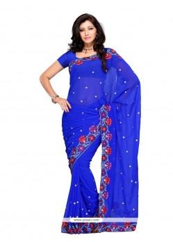 Mesmerizing Georgette Blue Designer Saree