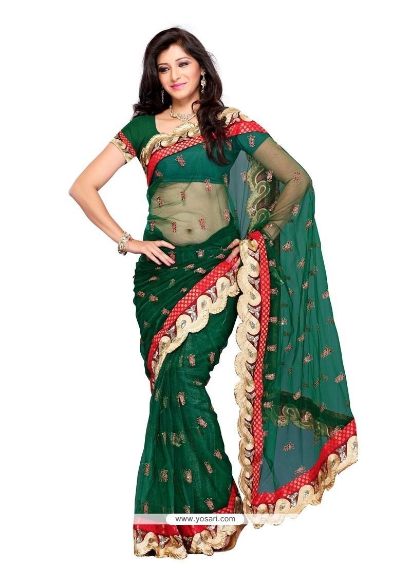 Beckoning Green Embroidered Work Net Designer Saree