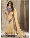 Beauteous Beige Faux Chiffon Saree