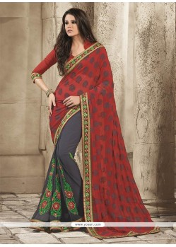 Admirable Black And Red Georgette Saree