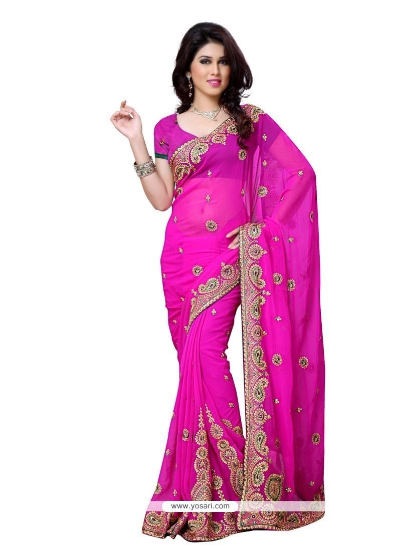 Alluring Aari Work Georgette Designer Saree
