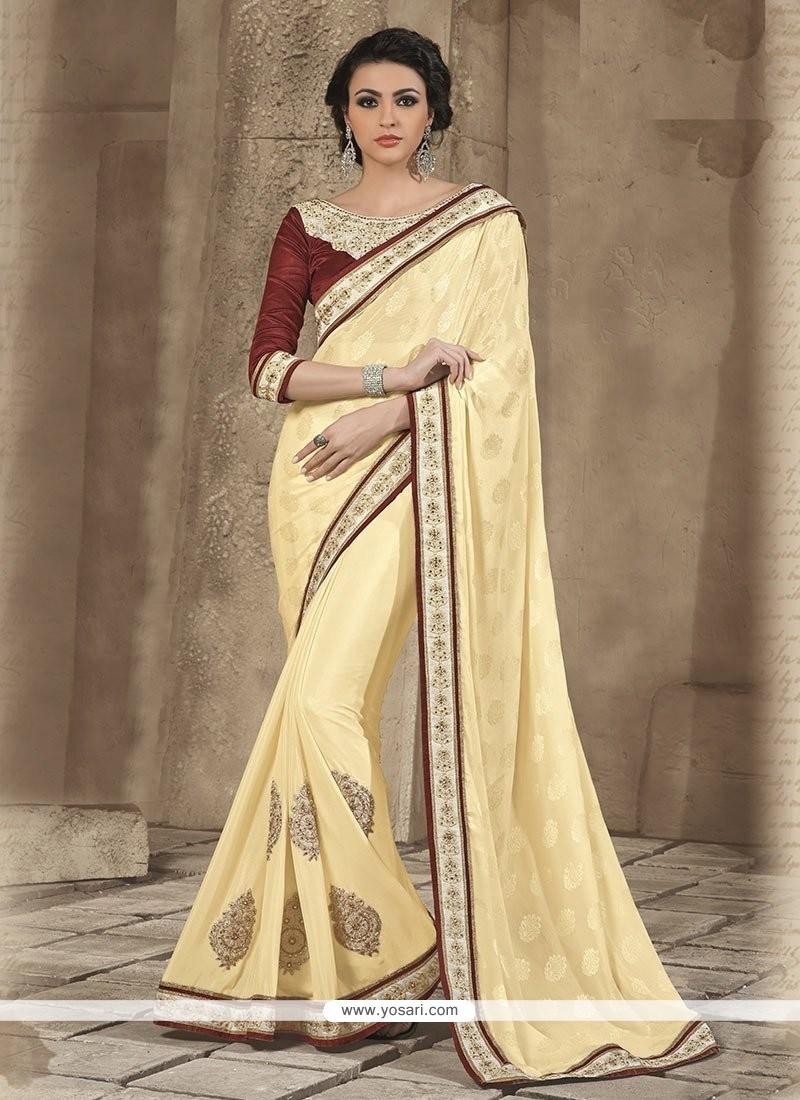 Cream Jacquard Party Wear Saree