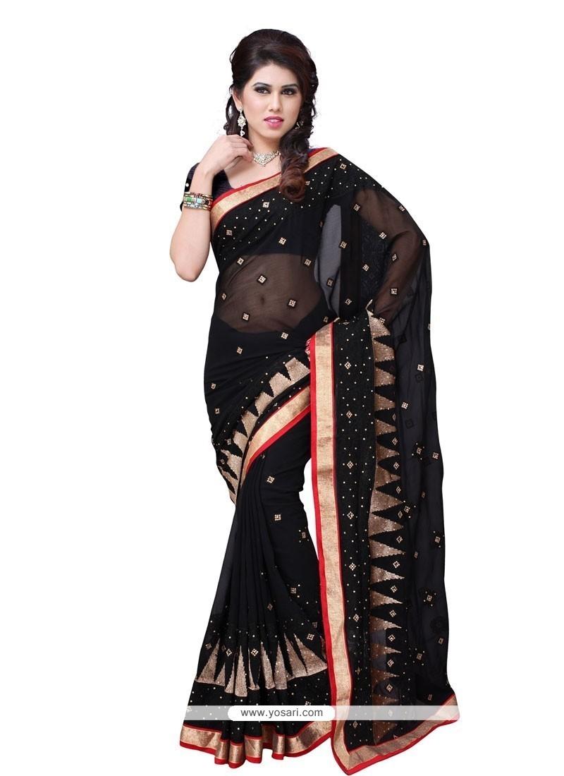 Honourable Black Georgette Designer Saree