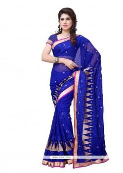 Whimsical Blue Patch Border Work Designer Saree