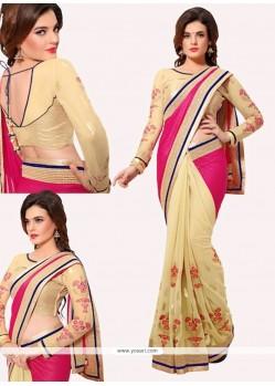 Aspiring Lycra Cream And Pink Designer Half N Half Saree