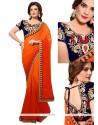 Brilliant Georgette Orange And Red Designer Saree