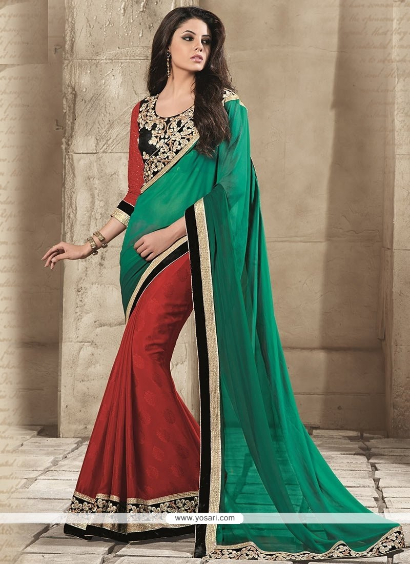 Green Crepe Half And Half Saree