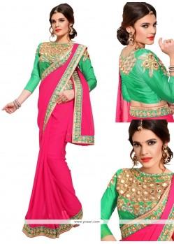 Magnificent Georgette Pink Designer Saree