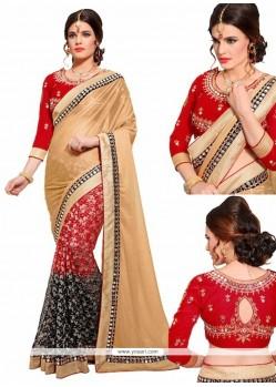 Classy Lycra Embroidered Work Designer Half N Half Saree