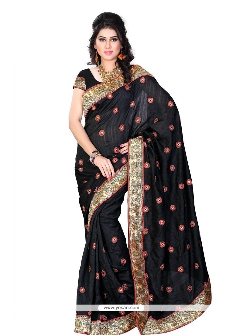 Radiant Black Art Silk Designer Saree