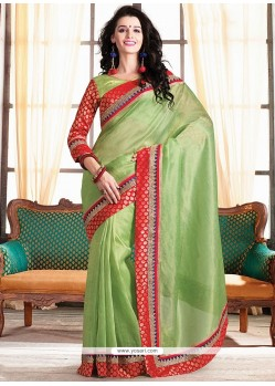 Green Embroidery Designer Saree