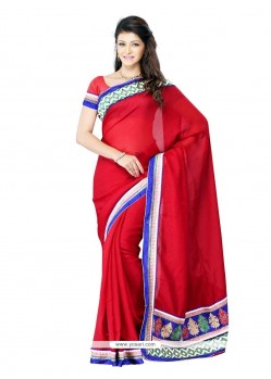 Red Patch Border Work Art Silk Designer Saree
