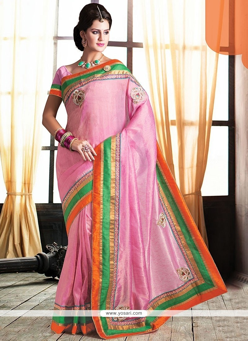 Pink Pure Jute Designer Saree