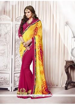 Resplendent Magenta And Yellow Embroidered Work Designer Saree