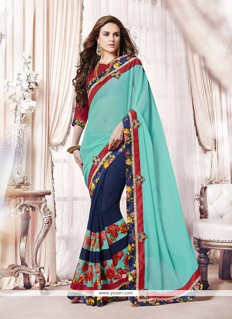 765acbd5327 Shop online Buy Delectable Georgette Embroidered Work Designer Saree ...