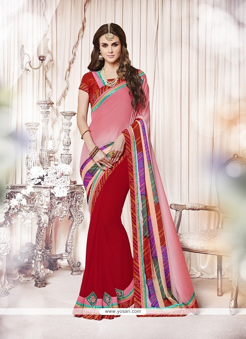 Modern Red Embroidered Work Faux Crepe Designer Saree