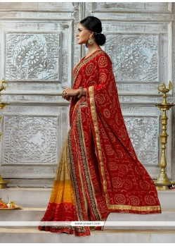Tempting Chiffon Satin Red Designer Saree