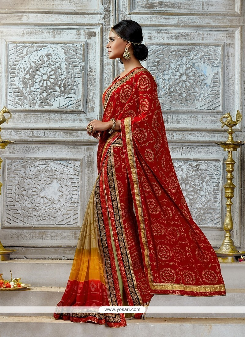 8d97803697f6a Shop online Buy Tempting Chiffon Satin Red Designer Saree Online   42929