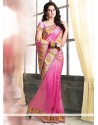 Markable Pink Jute Saree