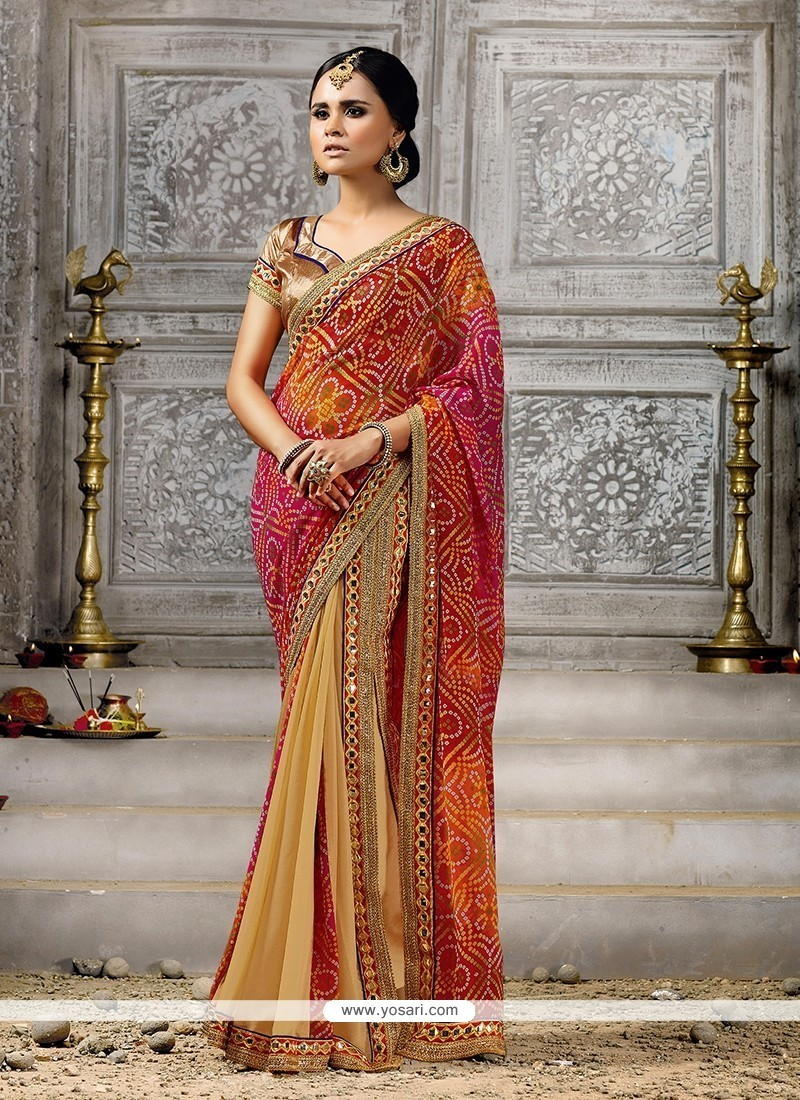 Multi Colour Print Work Net Designer Saree