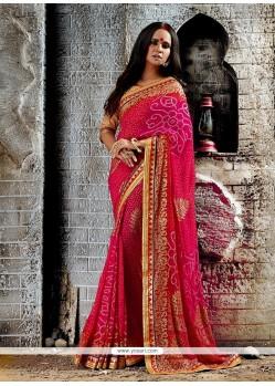 Perfervid Patch Border Work Hot Pink Georgette Designer Saree