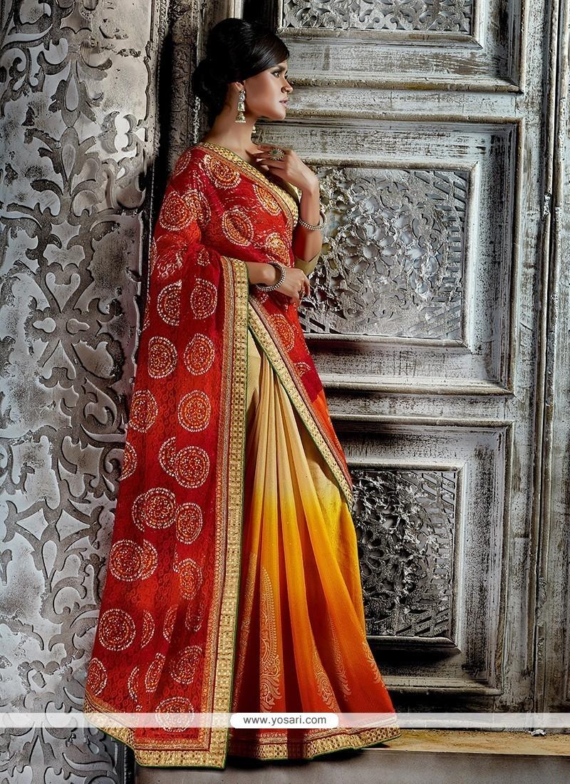 Striking Print Work Multi Colour Designer Saree