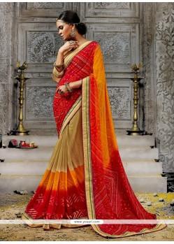 Splendid Faux Chiffon Multi Colour Designer Saree