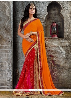 Gripping Print Work Orange And Red Designer Saree